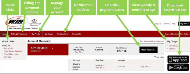 Graphic showing explanation of SmartHub member dashboard.
