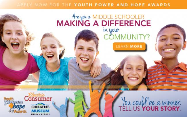 Happy group of male and female middle schoolers. Apply now for the Youth Power and Hope Awards.